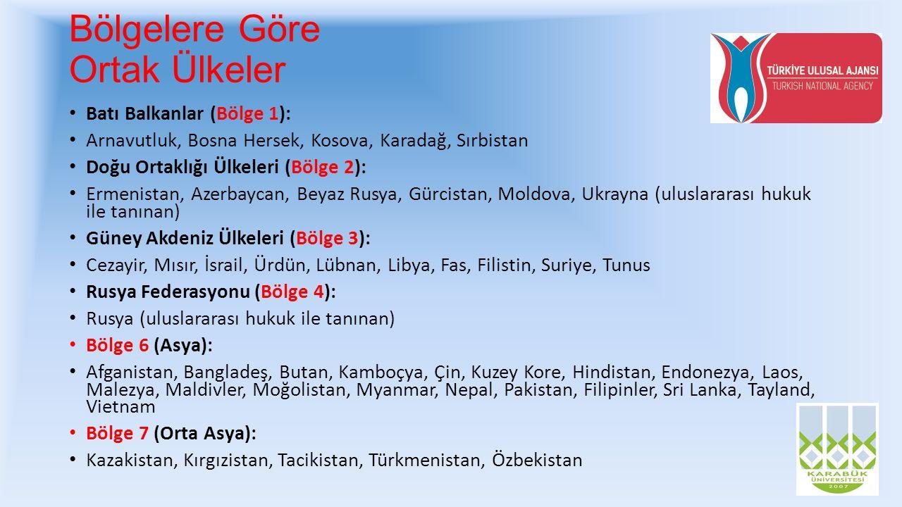Bölgelere Göre Ortak Ülkeler Batı Balkanlar (Bölge 1): Arnavutluk, Bosna Hersek, Kosova, Karadağ, Sırbistan Doğu Ortaklığı Ülkeleri (Bölge 2): Ermenis