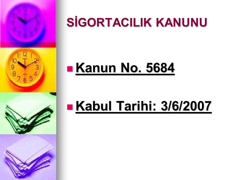 SİGORTACILIK KANUNU Kanun No. 5684 Kanun No. 5684 Kabul Tarihi: 3/6/2007 Kabul Tarihi: 3/6/2007