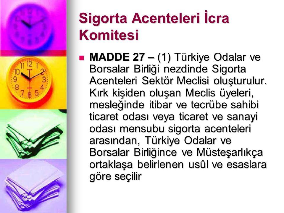 Sigorta Acenteleri İcra Komitesi MADDE 27 – (1) Türkiye Odalar ve Borsalar Birliği nezdinde Sigorta Acenteleri Sektör Meclisi oluşturulur.