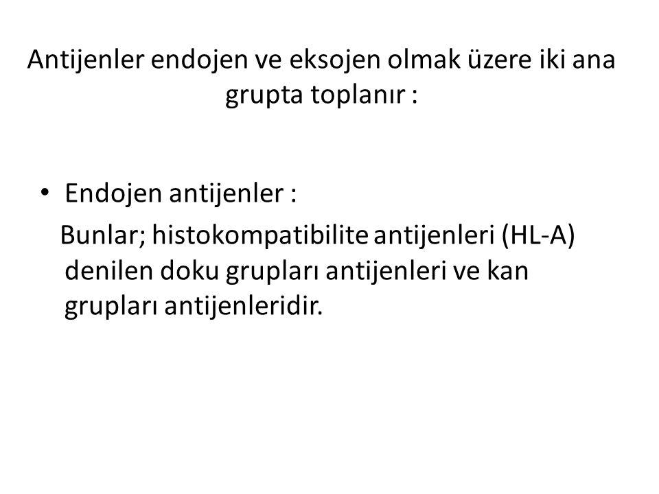 Antijenler endojen ve eksojen olmak üzere iki ana grupta toplanır : Endojen antijenler : Bunlar; histokompatibilite antijenleri (HL-A) denilen doku gr
