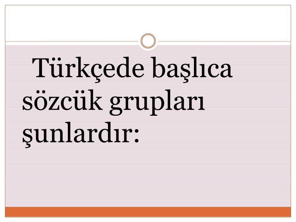 Türkçede başlıca sözcük grupları şunlardır: