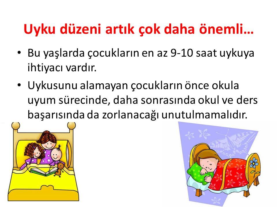Uyku düzeni artık çok daha önemli… Bu yaşlarda çocukların en az 9-10 saat uykuya ihtiyacı vardır. Uykusunu alamayan çocukların önce okula uyum sürecin