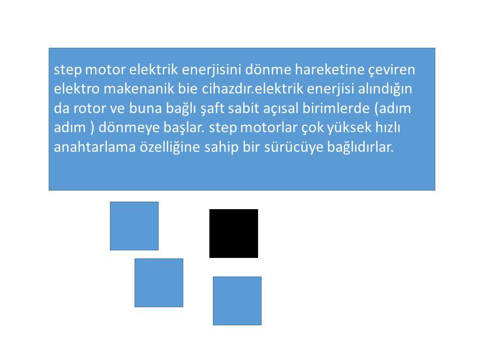 step motor elektrik enerjisini dönme hareketine çeviren elektro makenanik bie cihazdır.elektrik enerjisi alındığın da rotor ve buna bağlı şaft sabit a