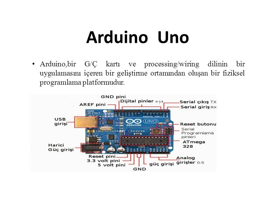Arduino Uno Arduino,bir G/Ç kartı ve processing/wiring dilinin bir uygulamasını içeren bir geliştirme ortamından oluşan bir fiziksel programlama platformudur.
