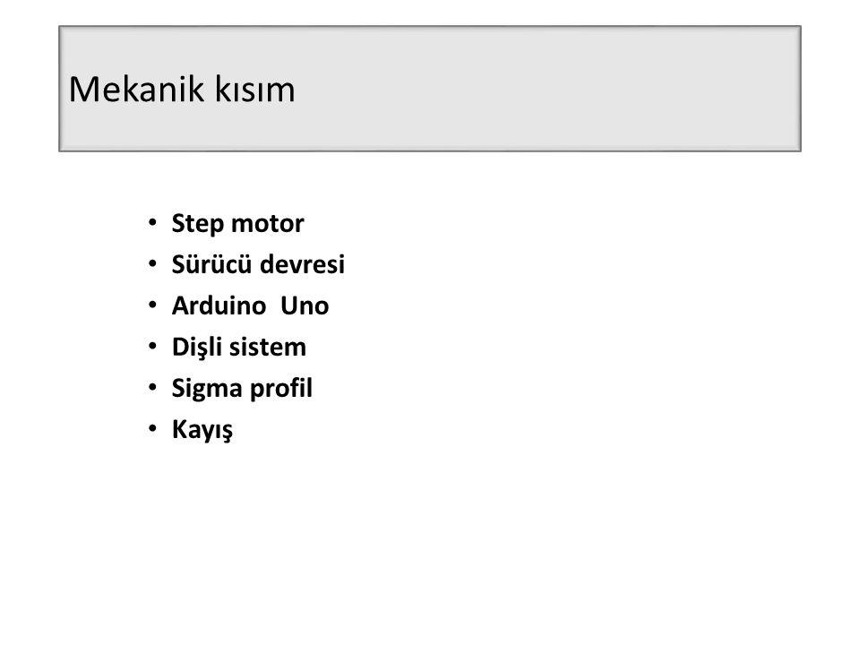 Mekanik kısım Step motor Sürücü devresi Arduino Uno Dişli sistem Sigma profil Kayış