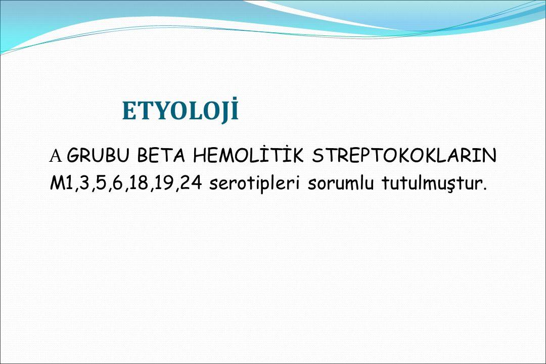 ETYOLOJİ A GRUBU BETA HEMOLİTİK STREPTOKOKLARIN M1,3,5,6,18,19,24 serotipleri sorumlu tutulmuştur.