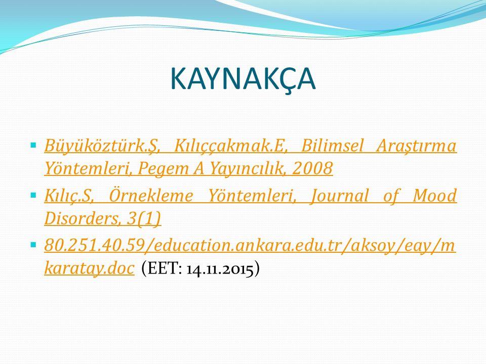 KAYNAKÇA  Büyüköztürk.Ş, Kılıççakmak.E, Bilimsel Araştırma Yöntemleri, Pegem A Yayıncılık, 2008 Büyüköztürk.Ş, Kılıççakmak.E, Bilimsel Araştırma Yöntemleri, Pegem A Yayıncılık, 2008  Kılıç.S, Örnekleme Yöntemleri, Journal of Mood Disorders, 3(1) Kılıç.S, Örnekleme Yöntemleri, Journal of Mood Disorders, 3(1)  80.251.40.59/education.ankara.edu.tr/aksoy/eay/m karatay.doc (EET: 14.11.2015) 80.251.40.59/education.ankara.edu.tr/aksoy/eay/m karatay.doc
