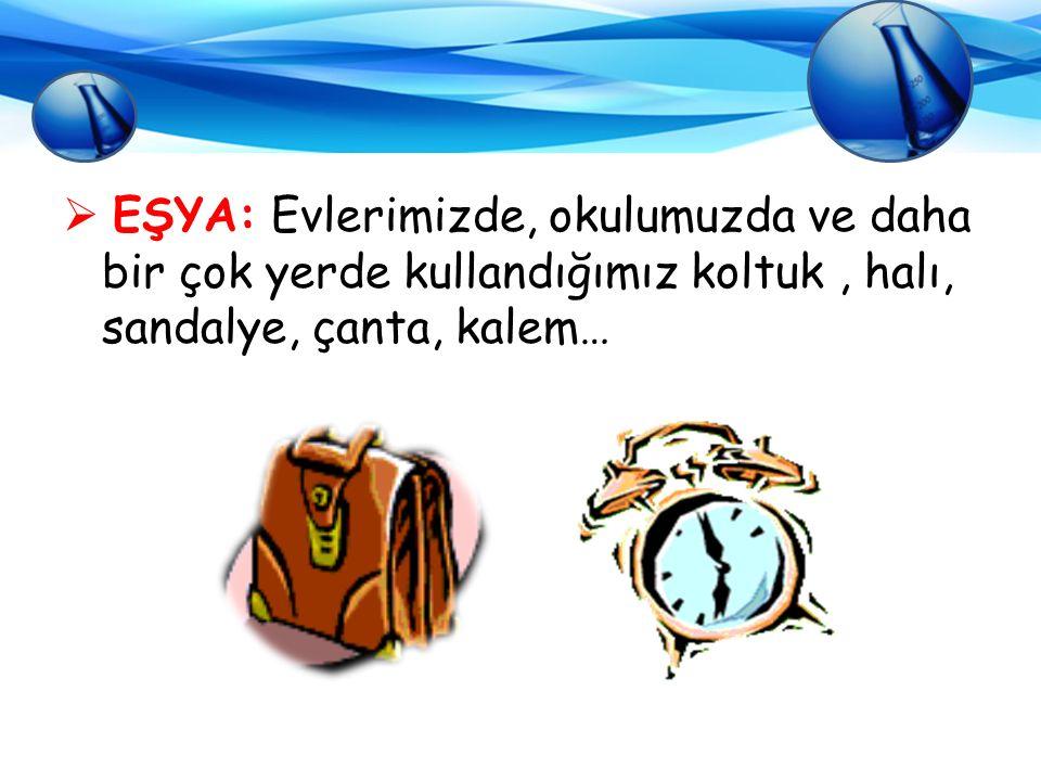  EŞYA: Evlerimizde, okulumuzda ve daha bir çok yerde kullandığımız koltuk, halı, sandalye, çanta, kalem…