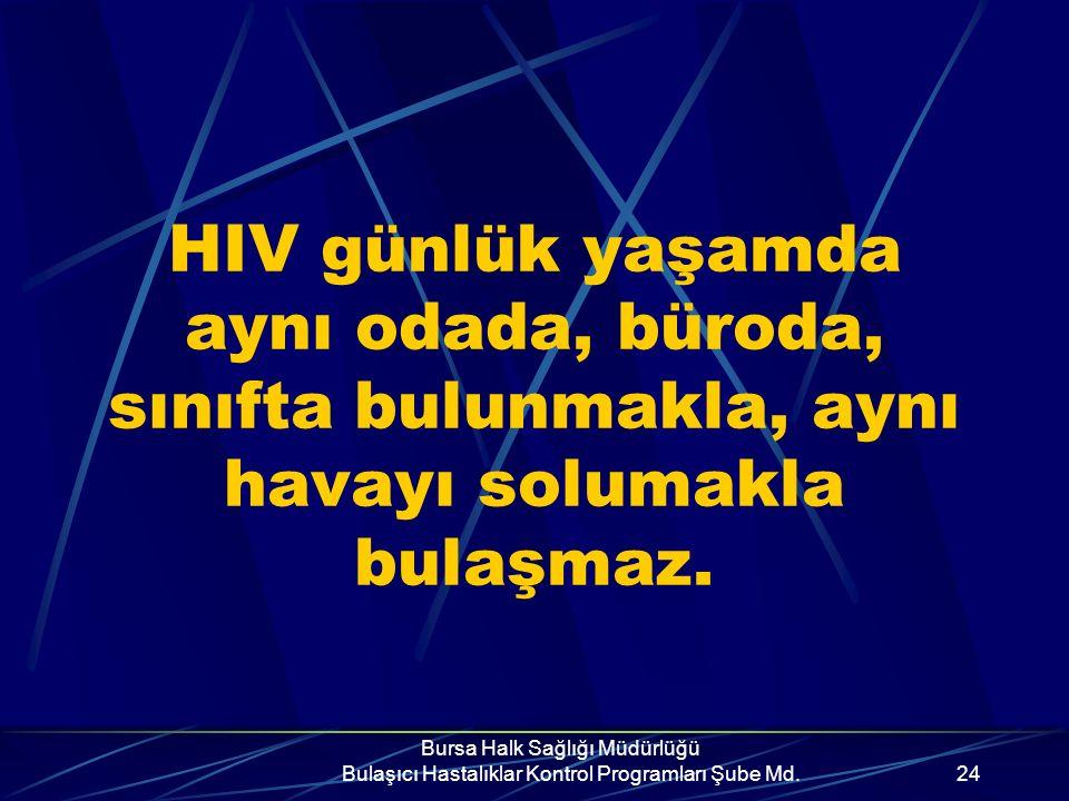 Bursa Halk Sağlığı Müdürlüğü Bulaşıcı Hastalıklar Kontrol Programları Şube Md.23 AIDS'in bulaşmadığı durumlar Aile yaşantısı, toplumsal yaşam El sıkış