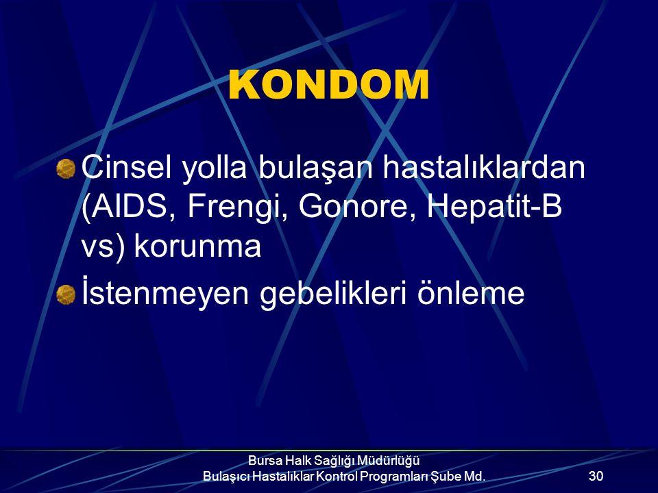 Bursa Halk Sağlığı Müdürlüğü Bulaşıcı Hastalıklar Kontrol Programları Şube Md.29 Çalışmalar göstermiştir ki..... Uygun kullanıldığında kondom partnerl