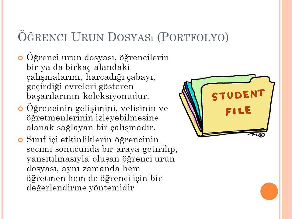 Ö ĞRENCI U RUN D OSYASı (P ORTFOLYO ) Öğrenci urun dosyası, öğrencilerin bir ya da birkaç alandaki çalışmalarını, harcadığı çabayı, geçirdiği evreleri