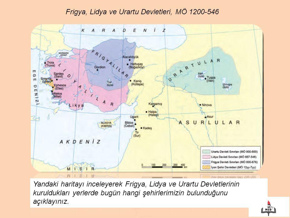 20 Frigya, Lidya ve Urartu Devletleri, MÖ 1200-546 Yandaki haritayı inceleyerek Frigya, Lidya ve Urartu Devletlerinin kuruldukları yerlerde bugün hang