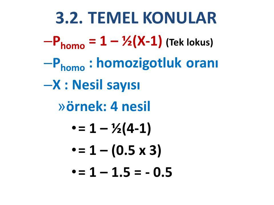 3.2. TEMEL KONULAR – P homo = 1 – ½(X-1) (Tek lokus) – P homo : homozigotluk oranı – X : Nesil sayısı » örnek: 4 nesil = 1 – ½(4-1) = 1 – (0.5 x 3) =