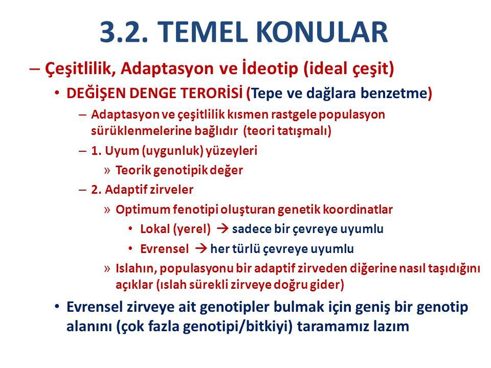 3.2. TEMEL KONULAR – Çeşitlilik, Adaptasyon ve İdeotip (ideal çeşit) DEĞİŞEN DENGE TERORİSİ (Tepe ve dağlara benzetme) – Adaptasyon ve çeşitlilik kısm