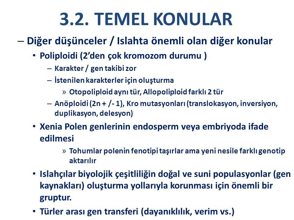 3.2. TEMEL KONULAR – Diğer düşünceler / Islahta önemli olan diğer konular Poliploidi (2'den çok kromozom durumu ) – Karakter / gen takibi zor – İsteni