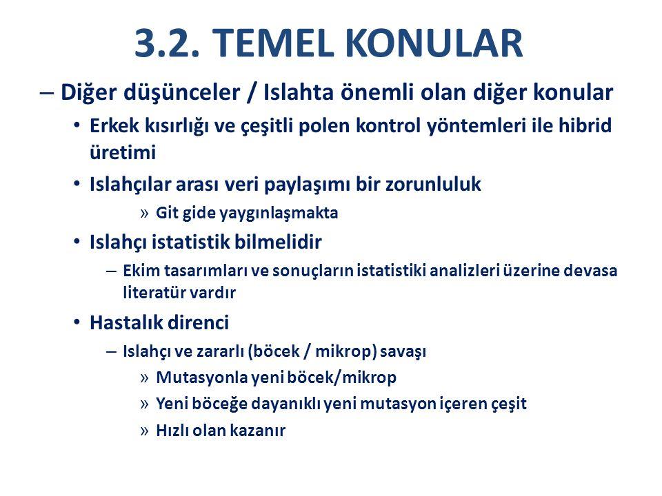 3.2. TEMEL KONULAR – Diğer düşünceler / Islahta önemli olan diğer konular Erkek kısırlığı ve çeşitli polen kontrol yöntemleri ile hibrid üretimi Islah