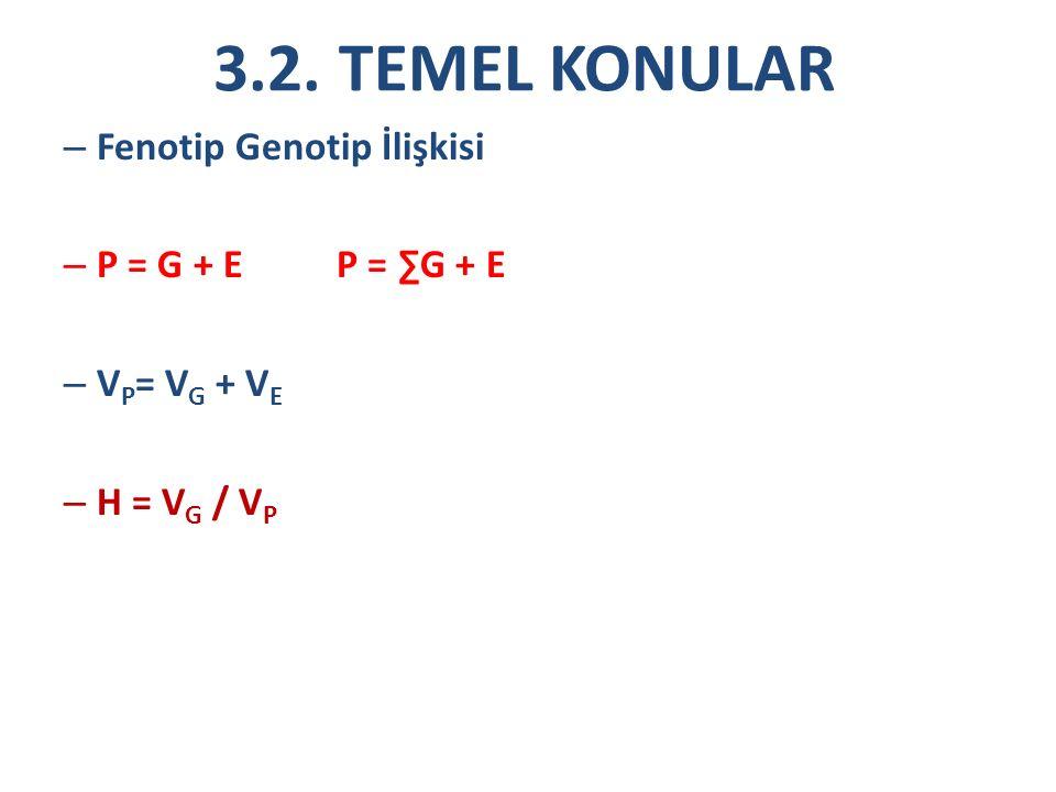 3.2. TEMEL KONULAR – Fenotip Genotip İlişkisi – P = G + E P = ∑G + E – V P = V G + V E – H = V G / V P