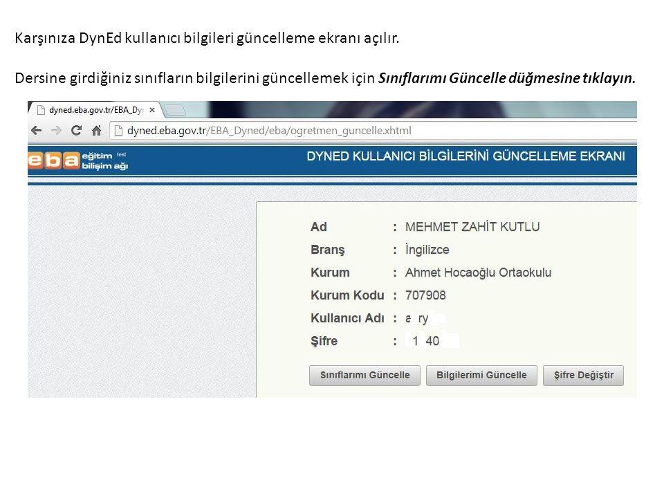 Karşınıza DynEd kullanıcı bilgileri güncelleme ekranı açılır.