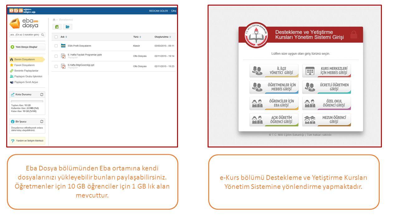 Eba Dosya bölümünden Eba ortamına kendi dosyalarınızı yükleyebilir bunları paylaşabilirsiniz. Öğretmenler için 10 GB öğrenciler için 1 GB lık alan mev