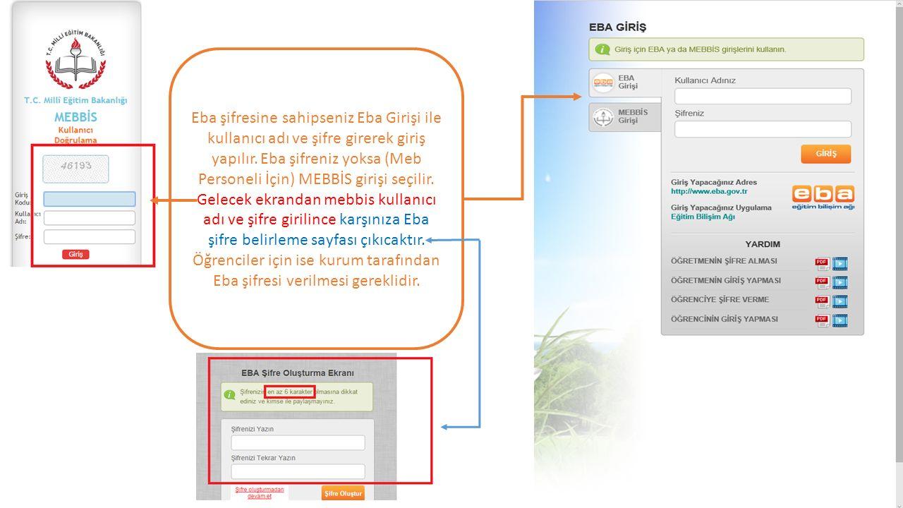 Eba şifresine sahipseniz Eba Girişi ile kullanıcı adı ve şifre girerek giriş yapılır. Eba şifreniz yoksa (Meb Personeli İçin) MEBBİS girişi seçilir. G