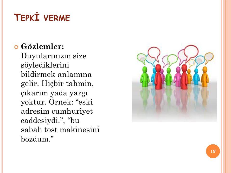 T EPK İ VERME 19 Gözlemler: Duyularınızın size söylediklerini bildirmek anlamına gelir.