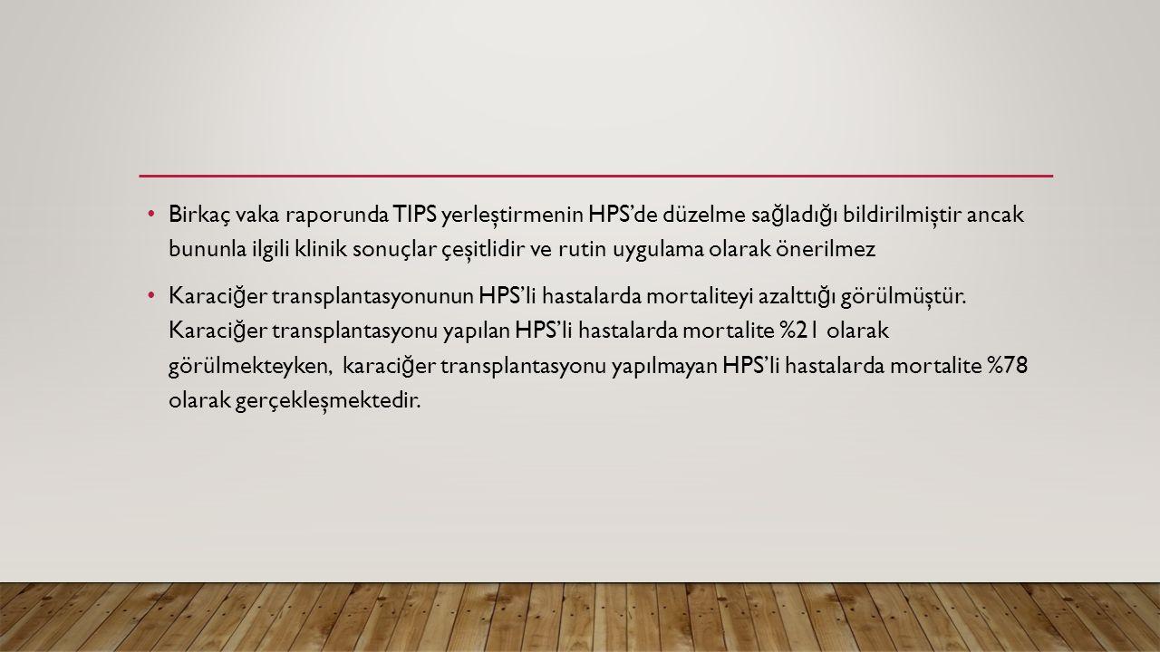 Birkaç vaka raporunda TIPS yerleştirmenin HPS'de düzelme sa ğ ladı ğ ı bildirilmiştir ancak bununla ilgili klinik sonuçlar çeşitlidir ve rutin uygulam