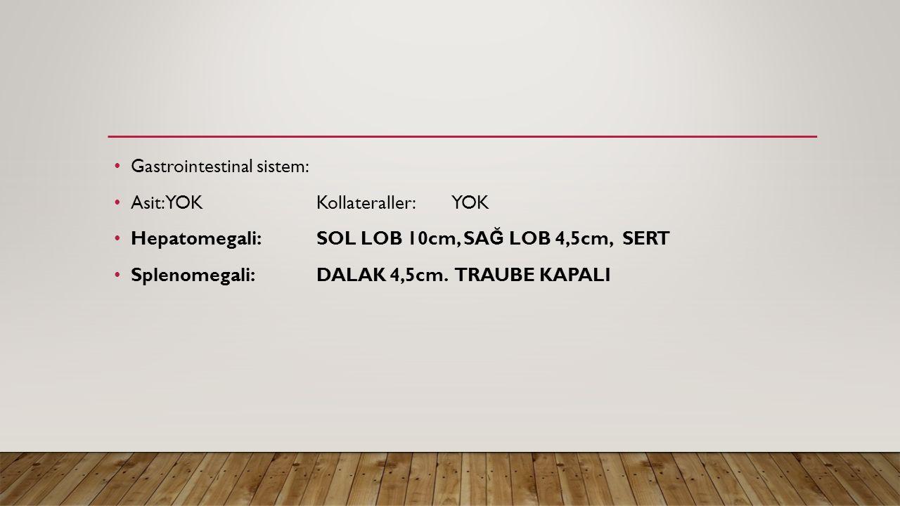 Gastrointestinal sistem: Asit: YOKKollateraller:YOK Hepatomegali: SOL LOB 10cm, SA Ğ LOB 4,5cm, SERT Splenomegali:DALAK 4,5cm. TRAUBE KAPALI