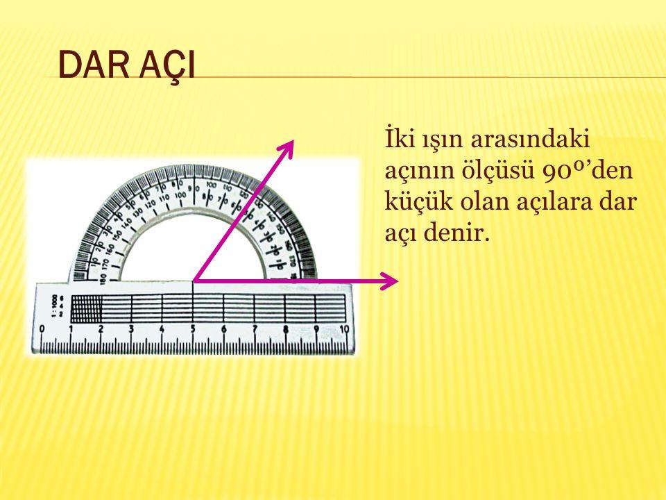 DAR AÇI İki ışın arasındaki açının ölçüsü 90º'den küçük olan açılara dar açı denir.