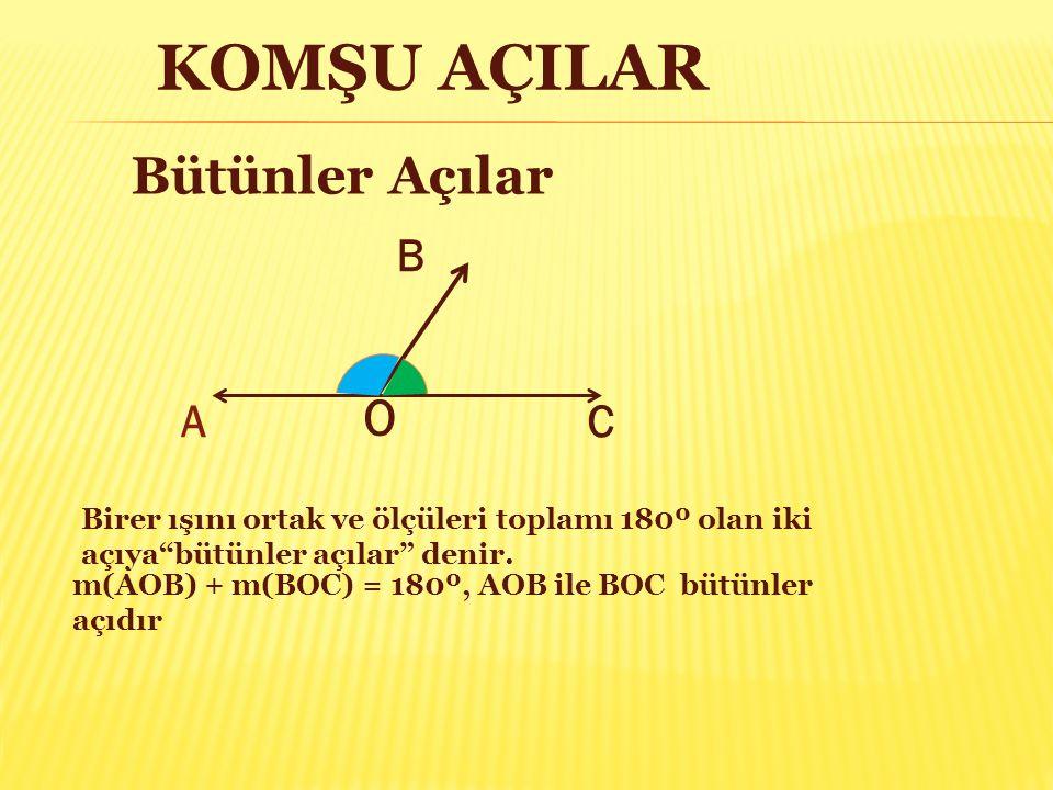 """KOMŞU AÇILAR A B C O m(AOB) + m(BOC) = 180º, AOB ile BOC bütünler açıdır Birer ışını ortak ve ölçüleri toplamı 180º olan iki açıya""""bütünler açılar"""" de"""