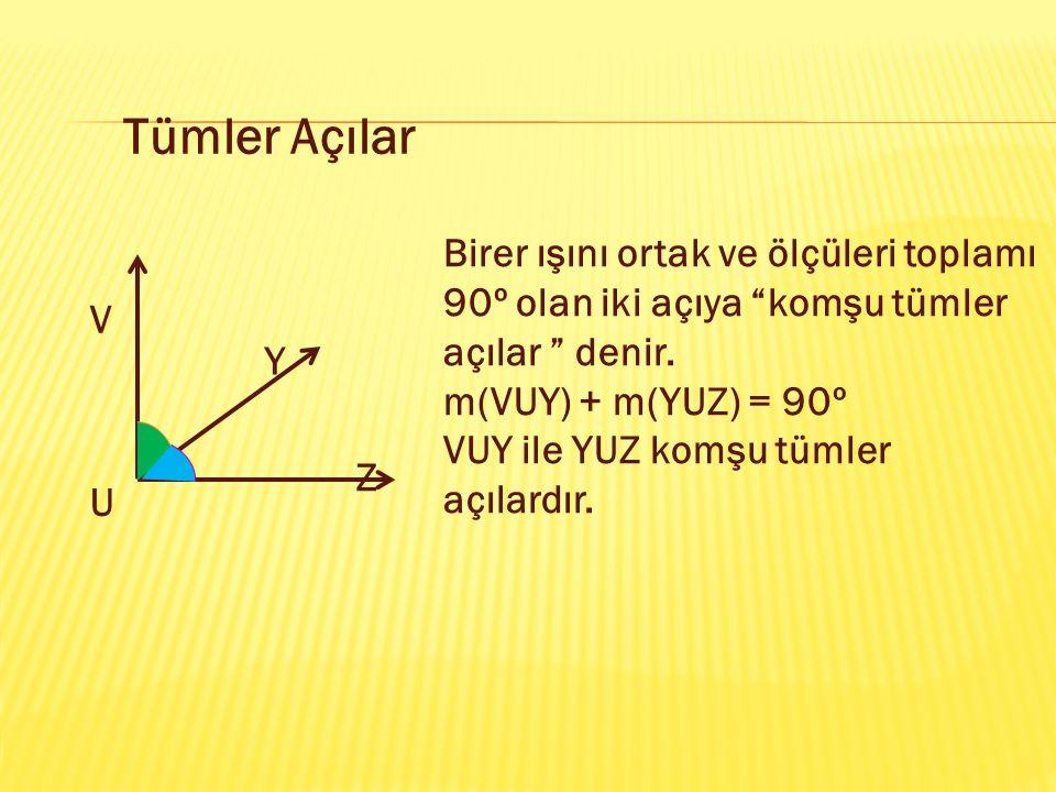 """Tümler Açılar Birer ışını ortak ve ölçüleri toplamı 90º olan iki açıya """"komşu tümler açılar """" denir. m(VUY) + m(YUZ) = 90º VUY ile YUZ komşu tümler aç"""