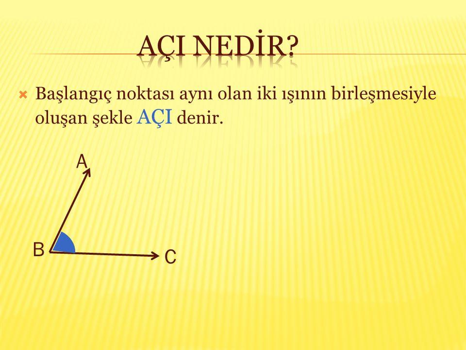  Başlangıç noktası aynı olan iki ışının birleşmesiyle oluşan şekle AÇI denir. A B C
