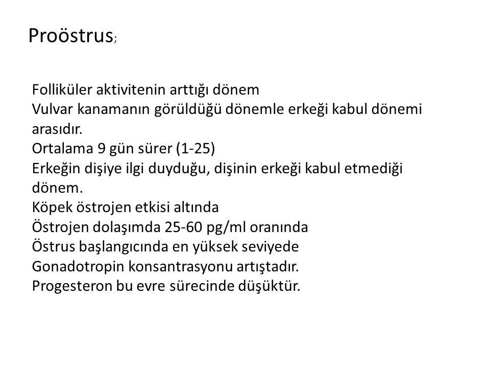 Proöstrus ; Folliküler aktivitenin arttığı dönem Vulvar kanamanın görüldüğü dönemle erkeği kabul dönemi arasıdır. Ortalama 9 gün sürer (1-25) Erkeğin