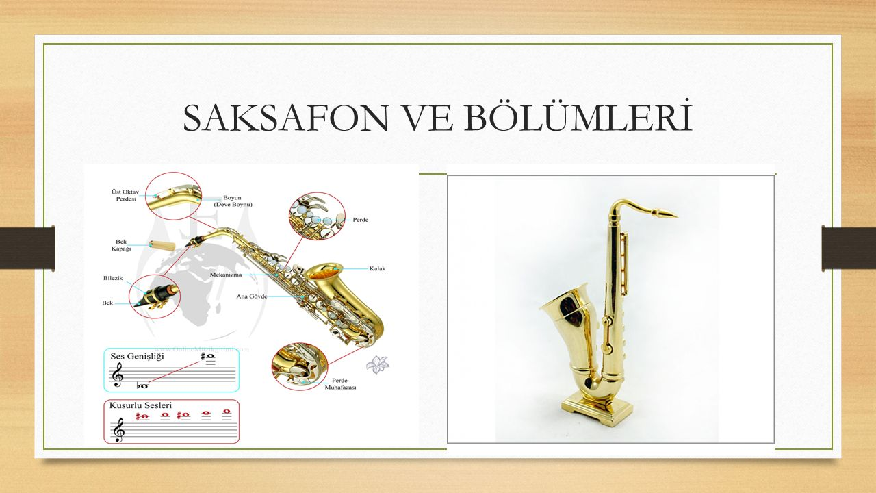 Jazz Müziği Enstrümanları SAKSAFON: Çoğunlukla pirinçten yapılan, koni ve S biçiminde olan, ağzındaki kamışla ses çıkaran bir çalgıdır. 1840'lı yıllar