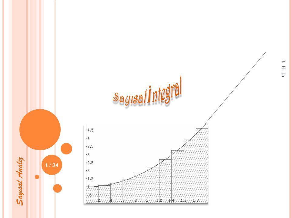 Simpson yöntemi için matlab örneği ; Sayısal İntegral SİMPSON Kuralı ile İntegrasyon: 3. Hafta 32