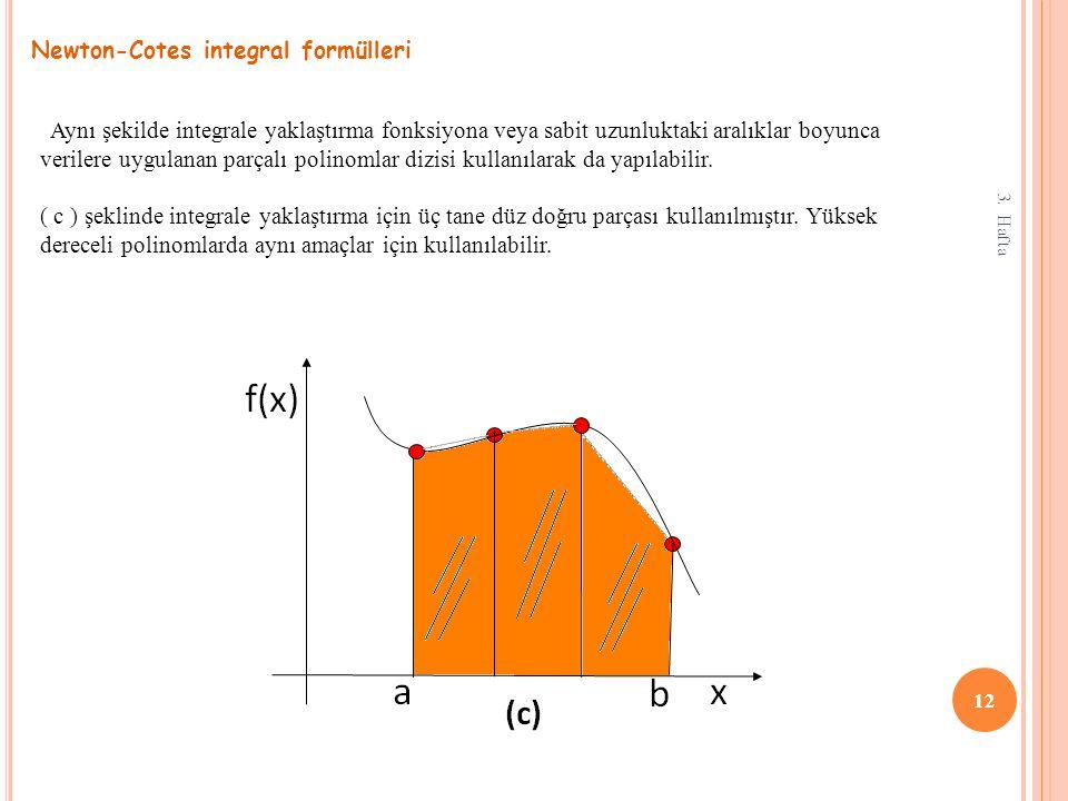3. Hafta 12 Newton-Cotes integral formülleri Aynı şekilde integrale yaklaştırma fonksiyona veya sabit uzunluktaki aralıklar boyunca verilere uygulanan