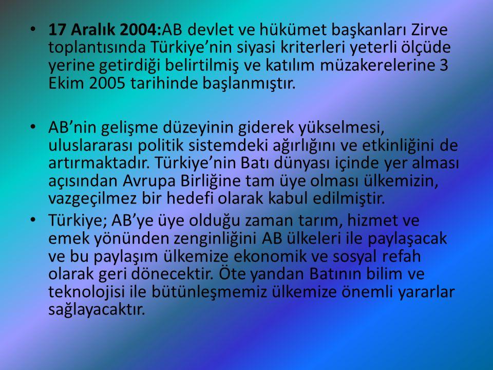 17 Aralık 2004:AB devlet ve hükümet başkanları Zirve toplantısında Türkiye'nin siyasi kriterleri yeterli ölçüde yerine getirdiği belirtilmiş ve katılı