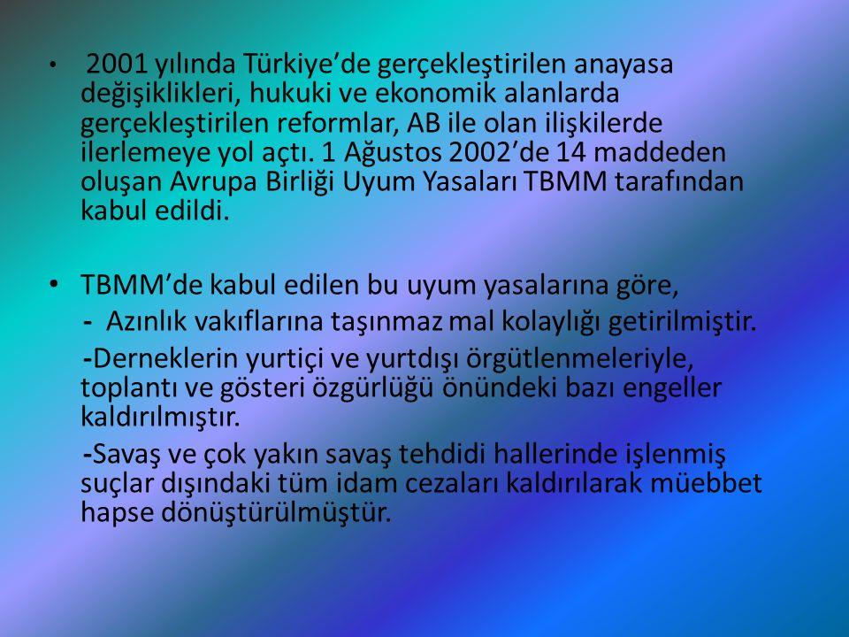 2001 yılında Türkiye′de gerçekleştirilen anayasa değişiklikleri, hukuki ve ekonomik alanlarda gerçekleştirilen reformlar, AB ile olan ilişkilerde iler