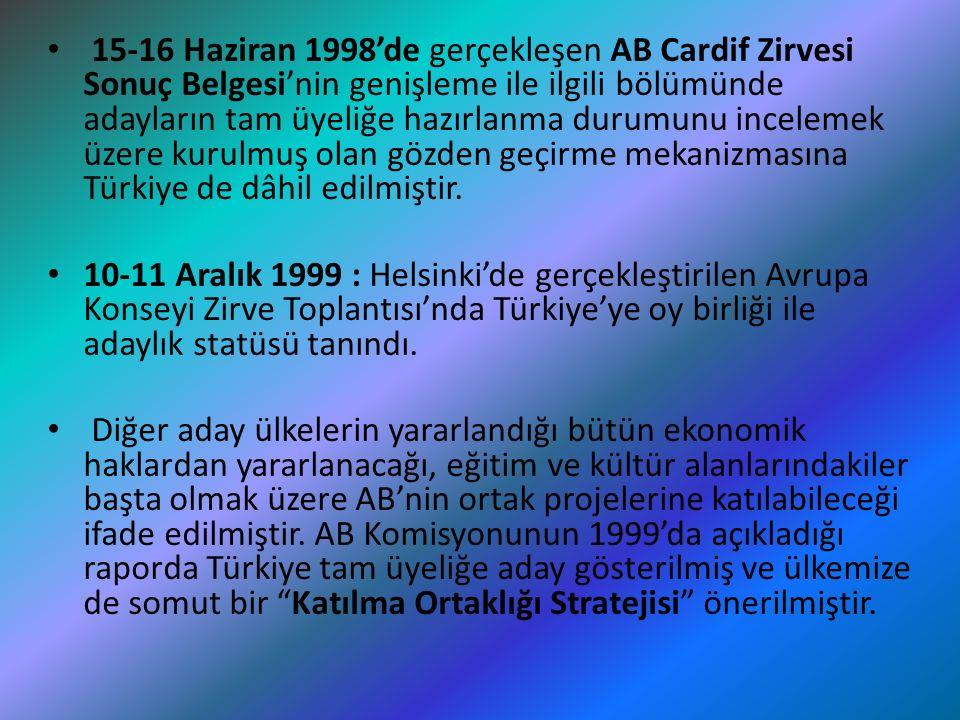 15-16 Haziran 1998'de gerçekleşen AB Cardif Zirvesi Sonuç Belgesi'nin genişleme ile ilgili bölümünde adayların tam üyeliğe hazırlanma durumunu incelem
