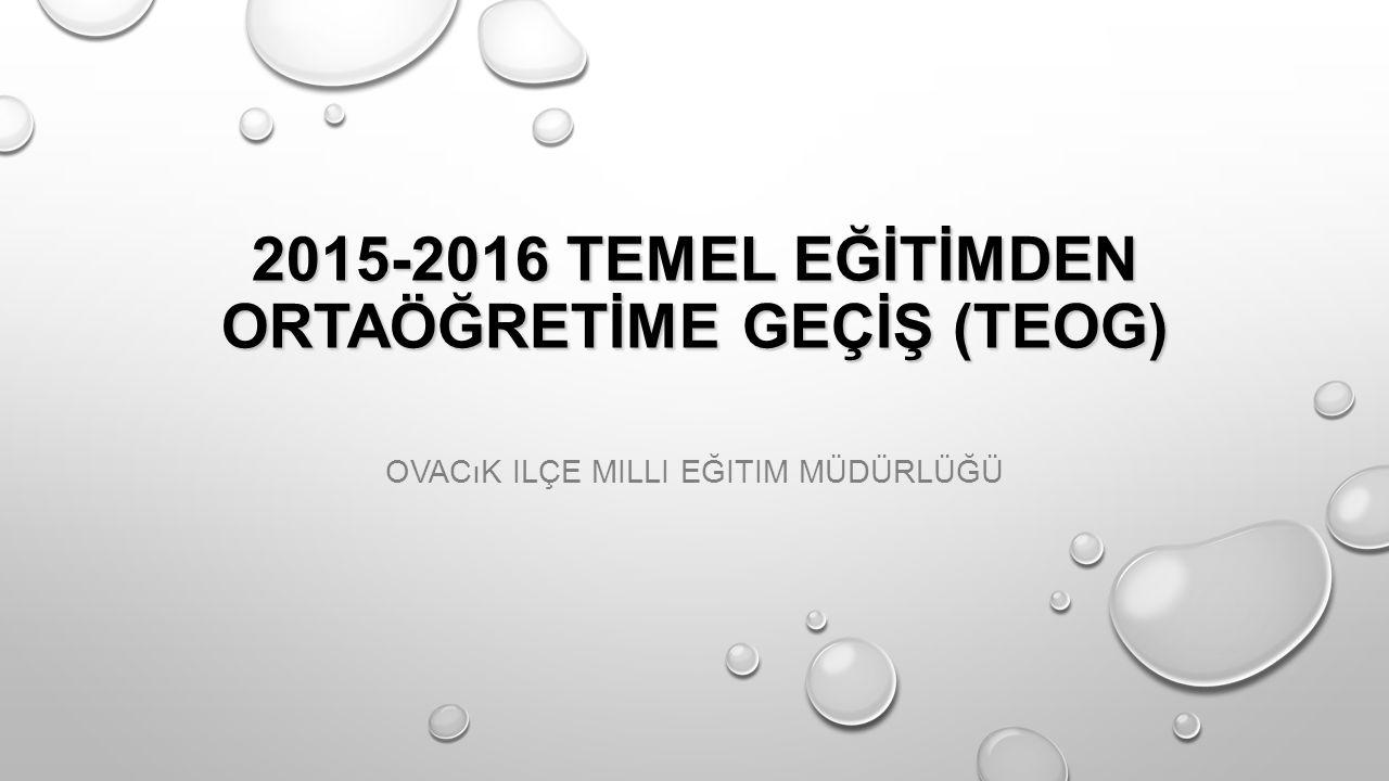 1.TEOG (TEOG Ortak yazılı sınav) 25-26 KASIM 2015 Mazeret Sınavı 12-13 Aralık 2015 2.