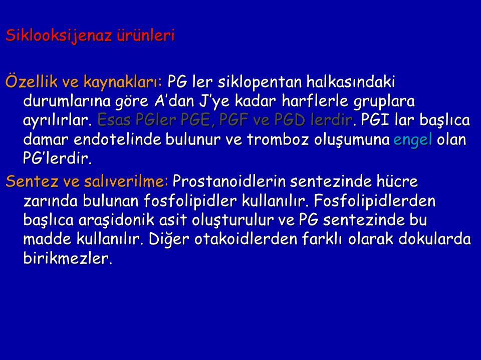 Fosfolipidler Araşidonik asit Fosfolipaz A2 siklooksijenaz PGG2 PGH2 PGI2 TxAPGD2 PGF2a PGE