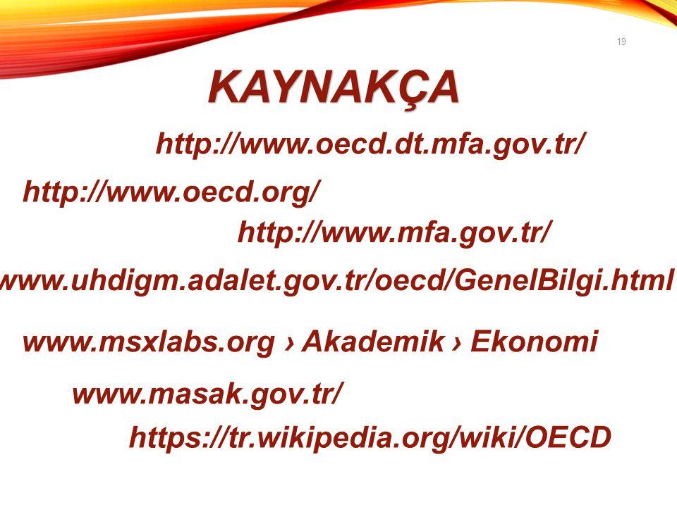19 KAYNAKÇA http://www.oecd.dt.mfa.gov.tr/ http://www.oecd.org/ http://www.mfa.gov.tr/ www.msxlabs.org › Akademik › Ekonomi www.uhdigm.adalet.gov.tr/oecd/GenelBilgi.html www.masak.gov.tr/ https://tr.wikipedia.org/wiki/OECD