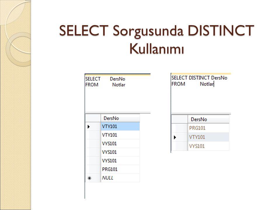 SELECT Sorgusunda DISTINCT Kullanımı