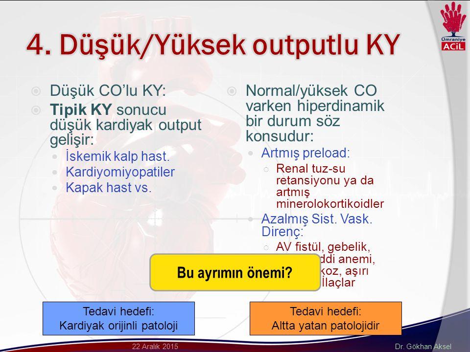Dr. Gökhan Aksel22 Aralık 2015  Düşük CO'lu KY:  Tipik KY sonucu düşük kardiyak output gelişir: İskemik kalp hast. Kardiyomiyopatiler Kapak hast vs.