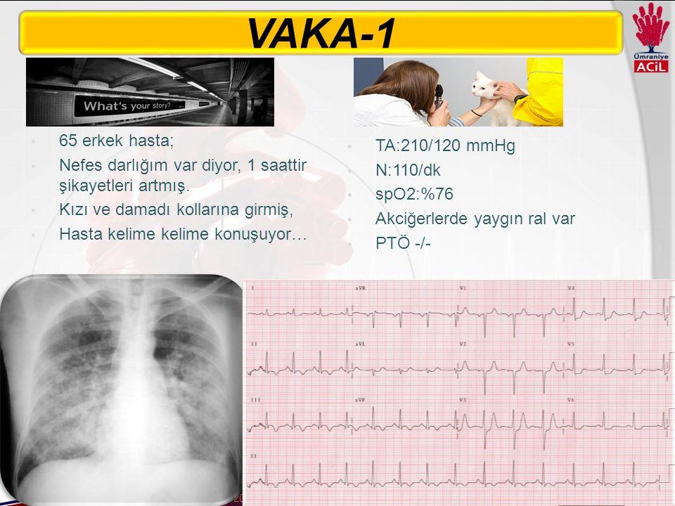 Dr. Gökhan Aksel22 Aralık 2015 65 erkek hasta; Nefes darlığım var diyor, 1 saattir şikayetleri artmış. Kızı ve damadı kollarına girmiş, Hasta kelime k