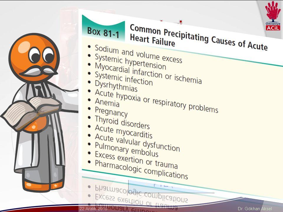 Dr. Gökhan Aksel22 Aralık 2015  Koroner arter hastalığı  KY'nin en sık sebebi (%70)  KMP ve miyokardit  Dilate KMP en sık 2. sebep  Valvüler kalp
