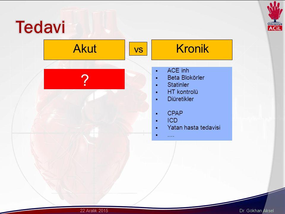 Dr. Gökhan Aksel22 Aralık 2015 AkutKronik  ACE inh  Beta Blokörler  Statinler  HT kontrolü  Diüretikler  CPAP  ICD  Yatan hasta tedavisi ....