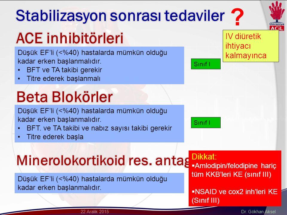 Dr. Gökhan Aksel22 Aralık 2015 Düşük EF'li (<%40) hastalarda mümkün olduğu kadar erken başlanmalıdır. BFT ve TA takibi gerekir Titre ederek başlanmalı