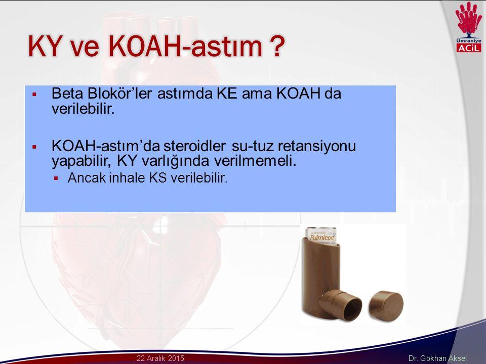 Dr. Gökhan Aksel22 Aralık 2015  Beta Blokör'ler astımda KE ama KOAH da verilebilir.