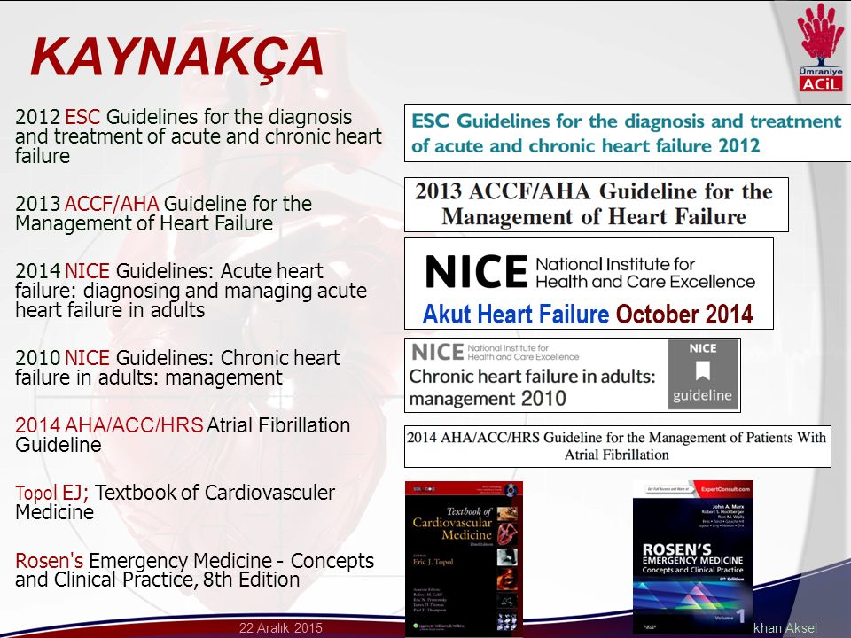 Dr. Gökhan Aksel22 Aralık 2015 2012 ESC Guidelines for the diagnosis and treatment of acute and chronic heart failure 2013 ACCF/AHA Guideline for the