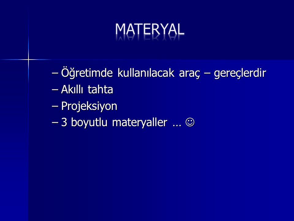 –Ö–Ö–Ö–Öğretimde kullanılacak araç – gereçlerdir –A–A–A–Akıllı tahta –P–P–P–Projeksiyon –3–3–3–3 boyutlu materyaller …